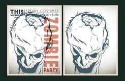 Zombie party placard set Stock Photos
