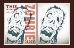 Zombie party placard set. Vector party Poster. Zombie party invitation set Stock Image
