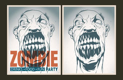 Zombie party placard set. Vector party Poster. Zombie party invitation set Royalty Free Stock Photography