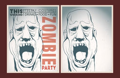 Zombie party placard set. Vector party Poster. Zombie party invitation set Stock Images