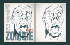 Zombie party placard set. Vector party Poster. Zombie party invitation set Royalty Free Stock Photos