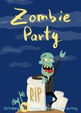 Zombie party poster with happy undead man Stock Photos