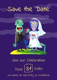 Zombie party poster with married zombie couple. In cemetery. Halloween holiday advertising with funny wedding undead, festive horror event invitation. Cute Royalty Free Stock Image