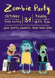Zombie party poster with monster group in cemetery. Halloween holiday advertising with funny undead, festive horror event invitation. Cute walking dead royalty free illustration