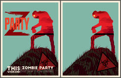 Zombie party poster set. Z party poster collection. Placard and invitation template Royalty Free Stock Photography