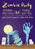 Zombie party poster with walking dead man. In cemetery. Halloween holiday banner with funny undead man, festive horror event invitation. Cute monster character vector illustration
