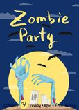 Zombie party poster with zombies hands. In graveyard at full moon. Walking dead in cemetery vector illustration. Halloween advertising with funny undead royalty free illustration
