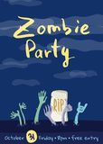 Zombie party poster with zombies hands. In graveyard. Walking dead in cemetery vector illustration. Halloween advertising with funny undead, festive horror vector illustration