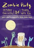 Zombie party poster with zombies hands. In graveyard. Walking dead in cemetery vector illustration. Halloween advertising with funny undead, festive horror royalty free illustration