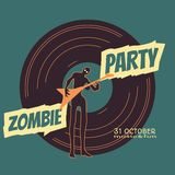 Zombie party text and silhouette on vynil record. Backdrop. Undead man play on guitar. Halloween theme background royalty free illustration