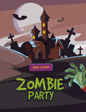 Zombie party vector illustration. Dead Man arm from the ground and dark castle. Invitation for halloween nigt Stock Photo
