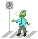 Zombie pedestrian crossing the street Stock Photo