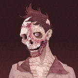 Zombie portrait. Horror and vector illustration Royalty Free Stock Photography
