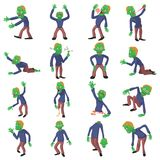 Zombie poses icons set, cartoon style. Zombie poses icons set. Cartoon illustration of 16 zombie poses vector icons for web Stock Image