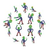 Zombie poses icons set, cartoon style. Zombie poses icons set. Cartoon illustration of 16 zombie poses vector icons for web Royalty Free Stock Image
