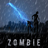 Zombie Poste. Zombie Walking out From Abandoned City at Night in a Rainy Weather Vector Illustration