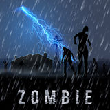 Zombie Poste. Zombie Walking out From Abandoned House at Night in a Rainy Weather royalty free illustration