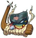 Zombie-Puck Biting Hockey Stick Vector-Karikatur Stockfoto