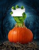 Zombie Pumpkin Sign Stock Photo