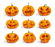 Zombie pumpkins, crazy pumpkin symbols vector illustration