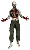 Zombie with a ripped chest. 3D render of a zombie with a ripped chest Royalty Free Stock Images