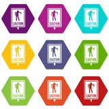 Zombie road sign icon set color hexahedron. Zombie road sign icon set many color hexahedron isolated on white vector illustration Royalty Free Stock Images