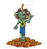 Zombie rock cartoon. Green zombie rock n roll  cartoon Royalty Free Stock Photos