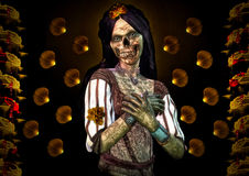 Zombie and Roses. Illustration of a Zombie Girl with a background of yellow roses with blood Stock Image