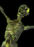 Zombie sceaming. Zombie like creature shouting or screaming against a black background Stock Photography