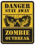 zombie Segnale di pericolo Disegnato a mano Moneta elettronica Fotografie Stock