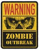 zombie Segnale di pericolo Disegnato a mano Vettore Fotografie Stock Libere da Diritti