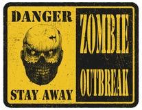 zombie Segnale di pericolo Disegnato a mano Vettore Fotografia Stock
