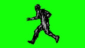 Zombie silhouette running on green background stock video