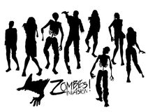 Zombie silhouettes walking forward. Zombie invasion. Zombie silhouettes walking forward. Halloween design elements  on white background Stock Images