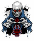 Zombie skull. Vector illustration of gray zombie skull with blue thorn clothes showing his claw Royalty Free Stock Photography