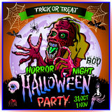 Zombie sneaks up on the background of a full moon, illustration on the theme of the halloween party. 31 october - 1 november.. Horror night. trick or treat Royalty Free Stock Photo
