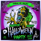 Zombie sneaks up on the background of a full moon, illustration on the theme of the halloween party. 31 october - 1 november.. Horror night. trick or treat Stock Photos