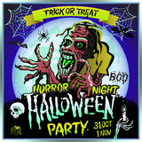 Zombie sneaks up on the background of a full moon, illustration on the theme of the halloween party. 31 october - 1 november.. Horror night. trick or treat Stock Photo
