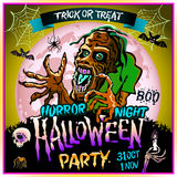 Zombie sneaks up on the background of a full moon, illustration on the theme of the halloween party. 31 october - 1 november.. Horror night. trick or treat Stock Photography