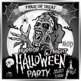 Zombie sneaks up on the background of a full moon, illustration on the theme of the halloween party. 31 october - 1 november.. Horror night. trick or treat Royalty Free Stock Images