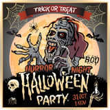Zombie sneaks up on the background of a full moon, illustration on the theme of the halloween party. 31 october - 1 november.. Horror night. trick or treat Stock Image