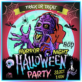 Zombie sneaks up on the background of a full moon, illustration on the theme of the halloween party. 31 october - 1 november.. Horror night. trick or treat Royalty Free Stock Image