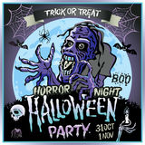 Zombie sneaks up on the background of a full moon, illustration on the theme of the halloween party. 31 october - 1 november.. Horror night. trick or treat Royalty Free Stock Photography