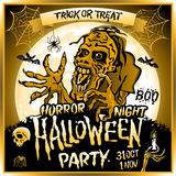 Zombie sneaks up on the background of a full moon. Illustration on the theme of the halloween party. 31 october - 1 november. Horror night. trick or treat Royalty Free Stock Image
