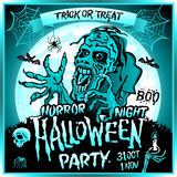 Zombie sneaks up on the background of a full moon. Illustration on the theme of the halloween party. 31 october - 1 november. Horror night. trick or treat Stock Photo
