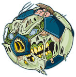 Zombie Soccer Ball Vector Cartoon. A Zombie Soccer Ball Vector Cartoon! Color elements are in a separate layer in the .eps for easy customization royalty free illustration