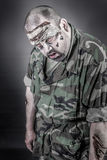 Zombie soldier. Is a disguised military soldier with a rifle stock photo