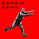 Zombie soldier run with arms outstretched forward. Vector illustration. stock images