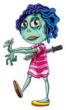A zombie stabbed with a knife Royalty Free Stock Photography