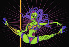 Zombie-stripper. cartoon character Royalty Free Stock Photography